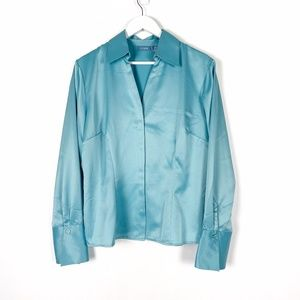 NWT Tres You Blue Silky Blouse Size 18